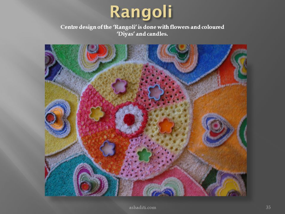 ashaditi.com35 Centre design of the Rangoli is done with flowers and coloured Diyas and candles.