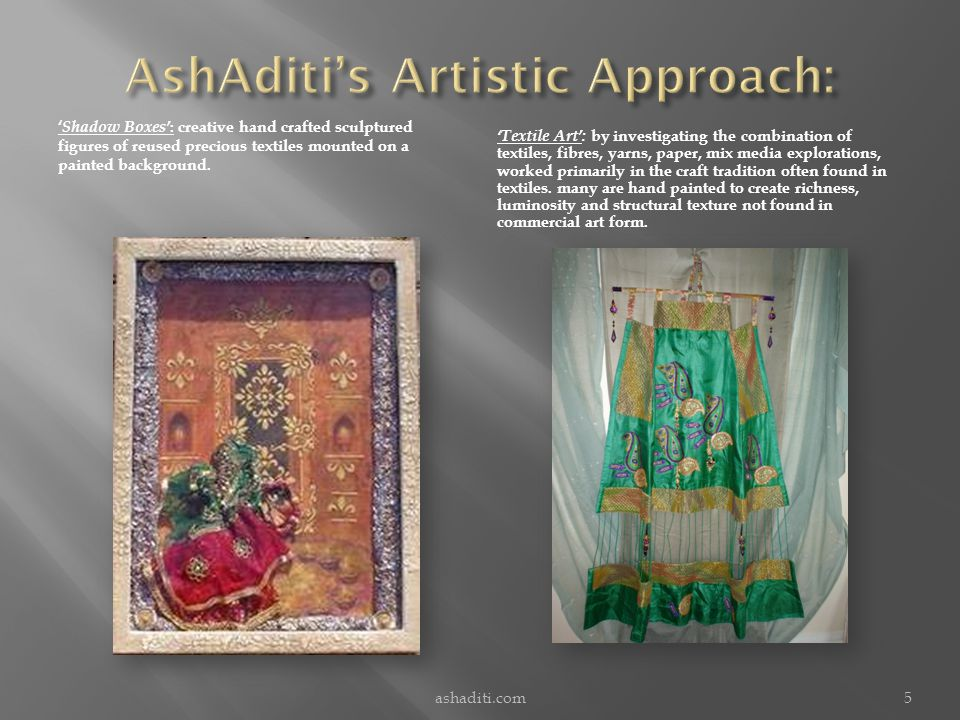 ashaditi.com5 Shadow Boxes : creative hand crafted sculptured figures of reused precious textiles mounted on a painted background.
