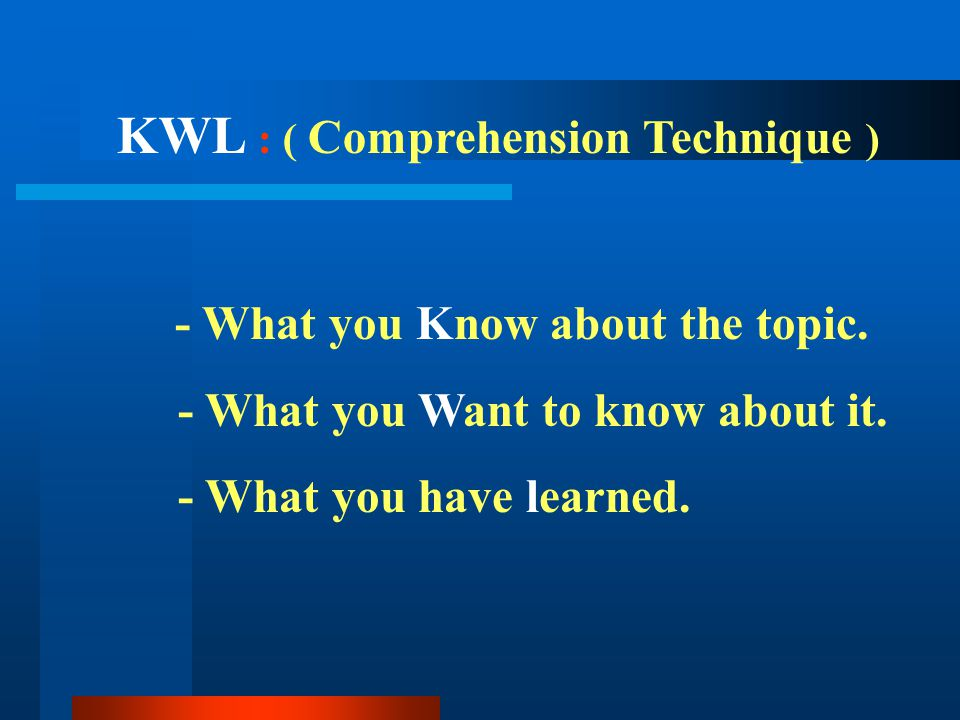 - What you Know about the topic. - What you Want to know about it. - What you have learned. KWL : ( Comprehension Technique )