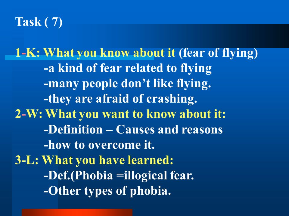 Task ( 7) 1-K: What you know about it (fear of flying) -a kind of fear related to flying -many people dont like flying. -they are afraid of crashing.
