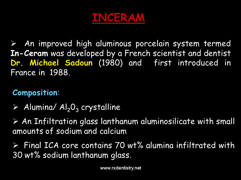 An improved high aluminous porcelain system termed In-Ceram was developed by a French scientist and dentist Dr. Michael Sadoun (1980) and first introd