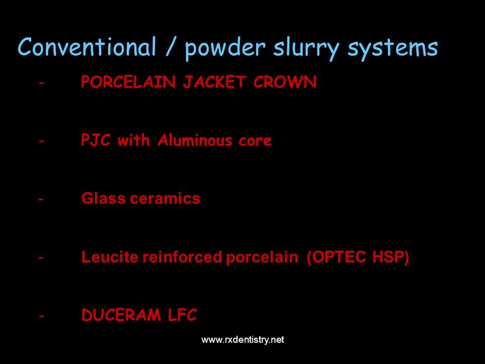 Conventional / powder slurry systems -PORCELAIN JACKET CROWN -PJC with Aluminous core -Glass ceramics -Leucite reinforced porcelain (OPTEC HSP) -DUCER