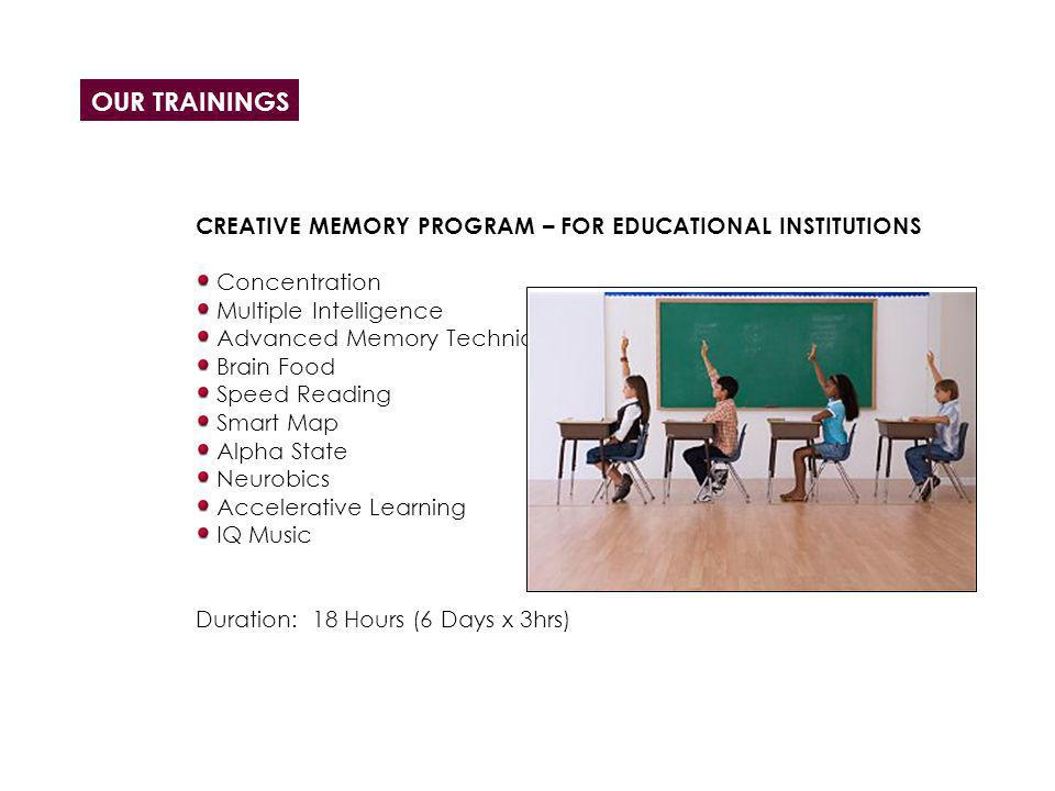 OUR TRAININGS CREATIVE MEMORY PROGRAM – FOR EDUCATIONAL INSTITUTIONS Concentration Multiple Intelligence Advanced Memory Techniques Brain Food Speed R