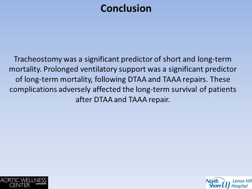 Tracheostomy was a significant predictor of short and long-term mortality. Prolonged ventilatory support was a significant predictor of long-term mort