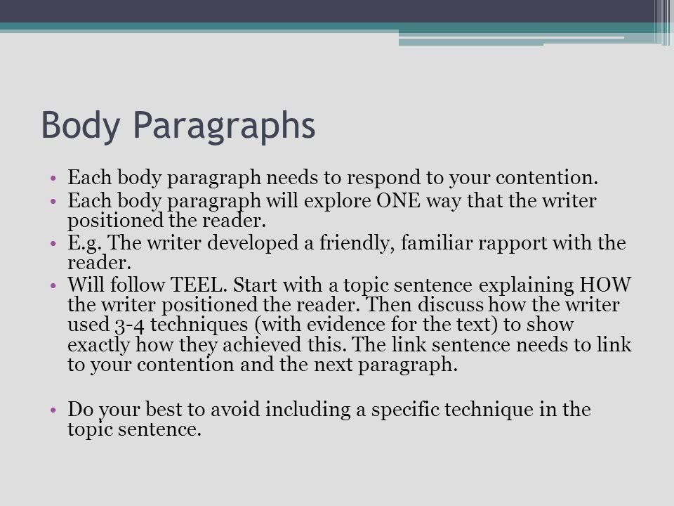 Body Paragraphs Each body paragraph needs to respond to your contention.