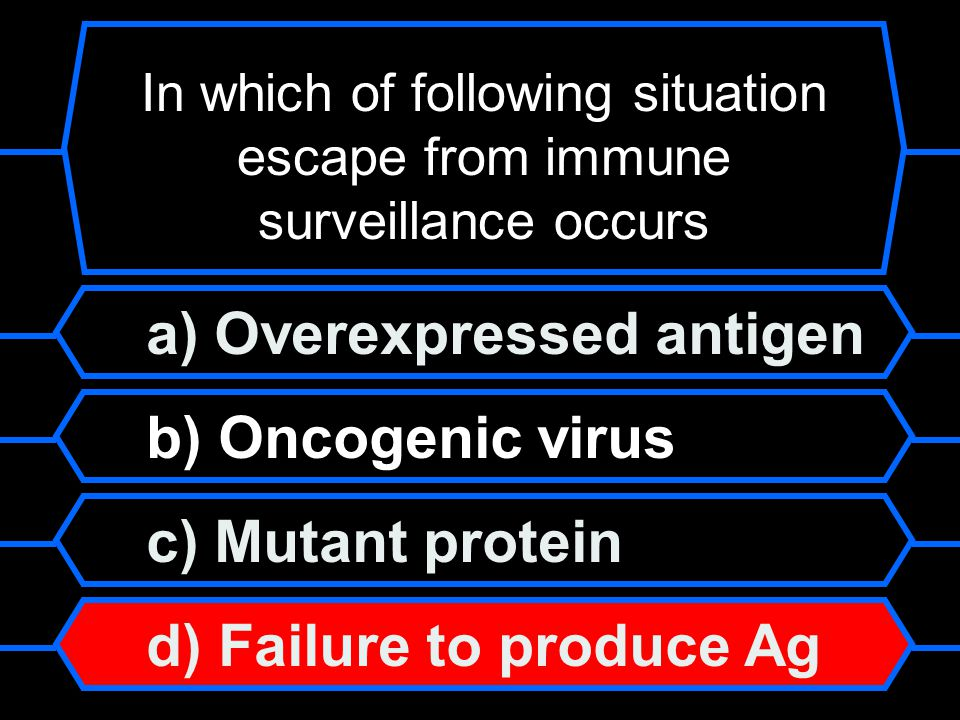 a) Overexpressed antigen b) Oncogenic virus c) Mutant protein d) Failure to produce Ag In which of following situation escape from immune surveillance