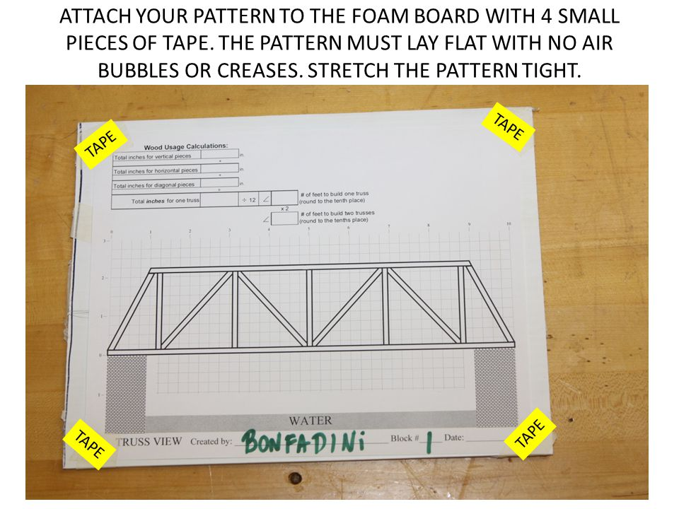 ATTACH YOUR PATTERN TO THE FOAM BOARD WITH 4 SMALL PIECES OF TAPE. THE PATTERN MUST LAY FLAT WITH NO AIR BUBBLES OR CREASES. STRETCH THE PATTERN TIGHT