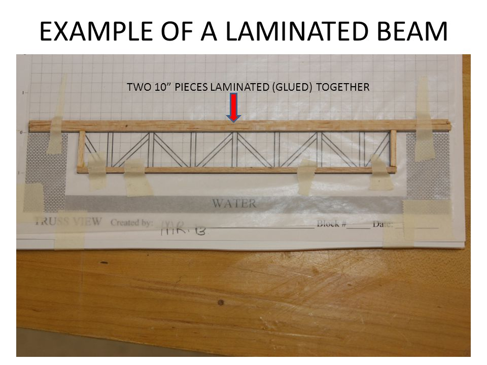 EXAMPLE OF A LAMINATED BEAM TWO 10 PIECES LAMINATED (GLUED) TOGETHER