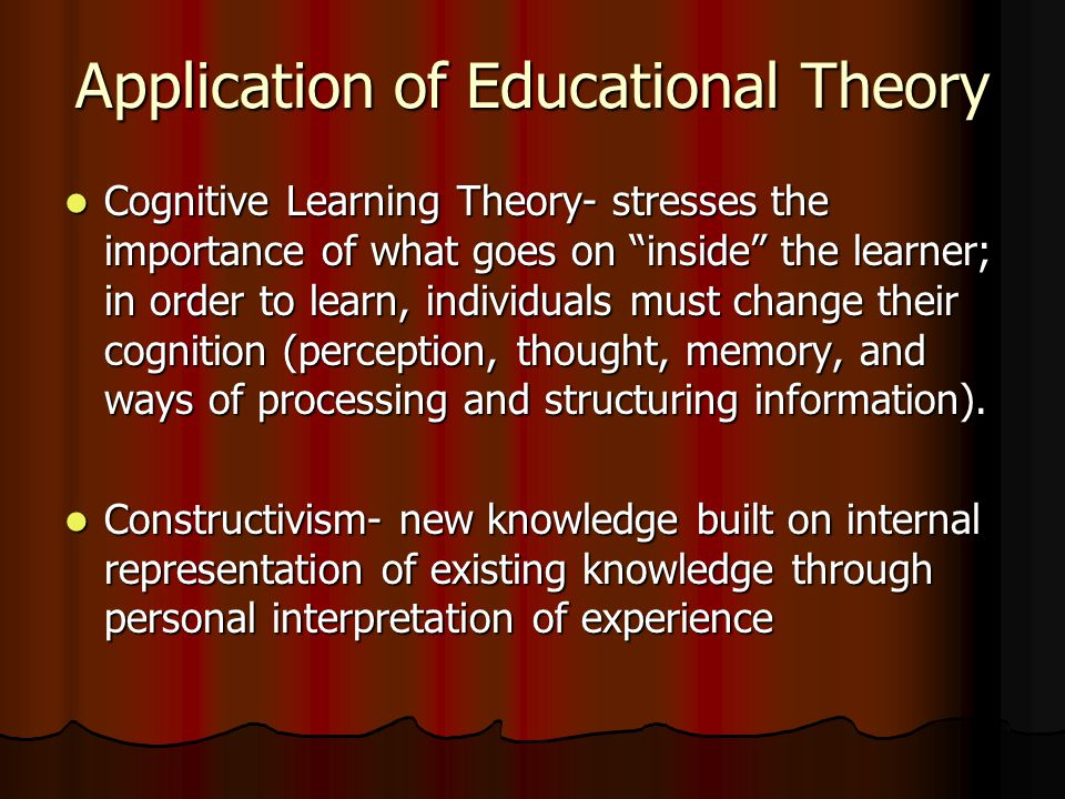 Application of Educational Theory Cognitive Learning Theory- stresses the importance of what goes on inside the learner; in order to learn, individuals must change their cognition (perception, thought, memory, and ways of processing and structuring information).