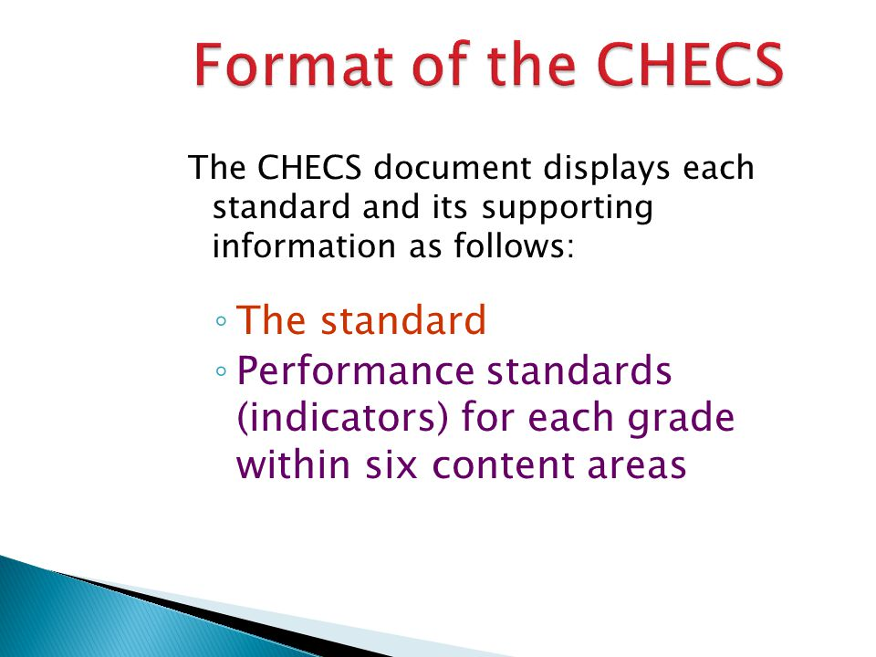 The CHECS document displays each standard and its supporting information as follows: The standard Performance standards (indicators) for each grade wi