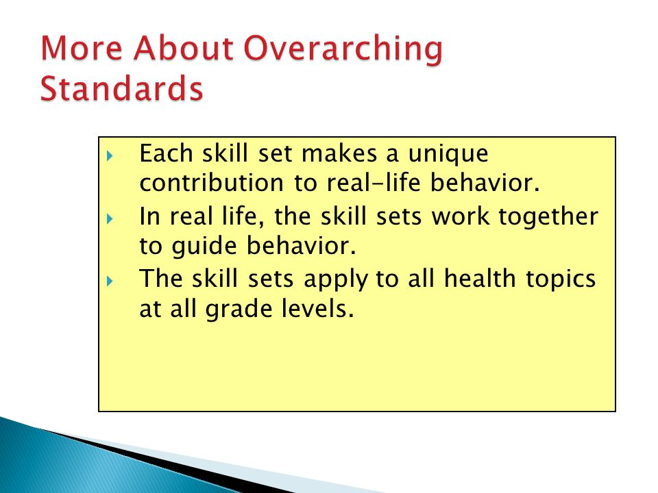 More About Overarching Standards Each skill set makes a unique contribution to real-life behavior. In real life, the skill sets work together to guide