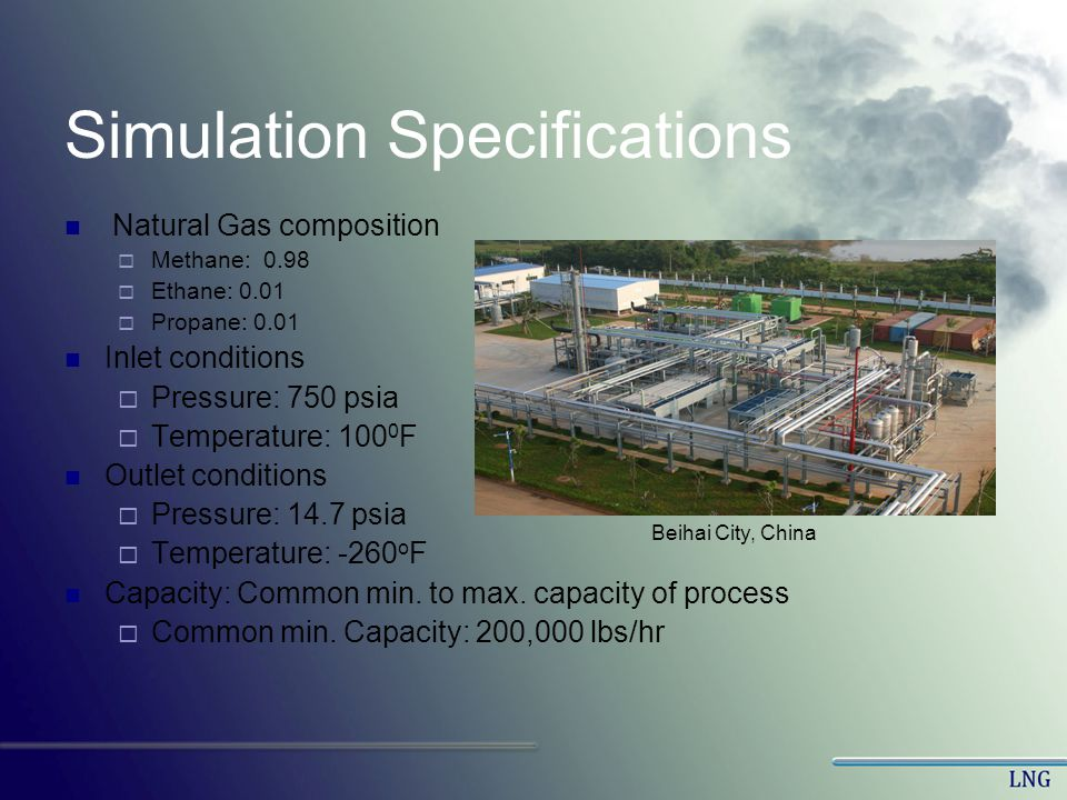 Simulation Specifications Natural Gas composition Methane: 0.98 Ethane: 0.01 Propane: 0.01 Inlet conditions Pressure: 750 psia Temperature: 100 0 F Ou