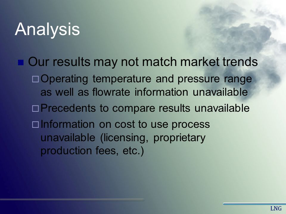 Analysis Our results may not match market trends Operating temperature and pressure range as well as flowrate information unavailable Precedents to co