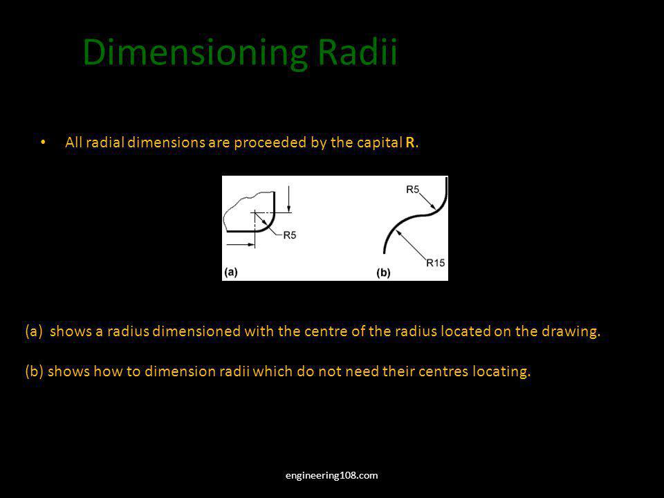 Dimensioning Radii All radial dimensions are proceeded by the capital R. (a)shows a radius dimensioned with the centre of the radius located on the dr