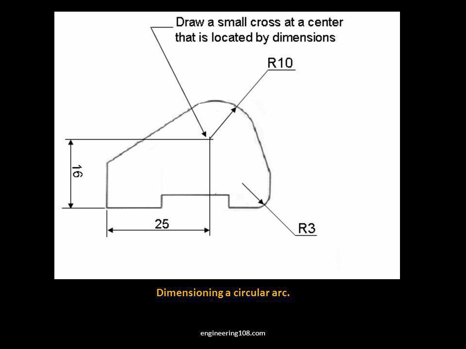 Dimensioning a circular arc. engineering108.com