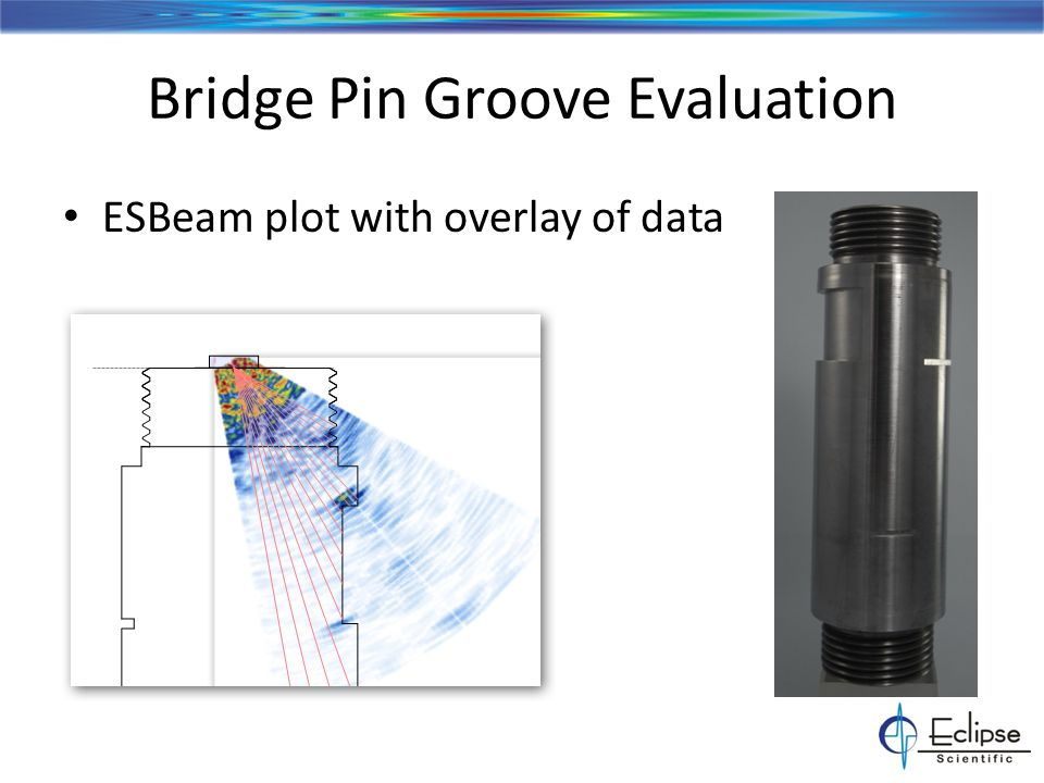 Bridge Pin Groove Evaluation ESBeam plot with overlay of data