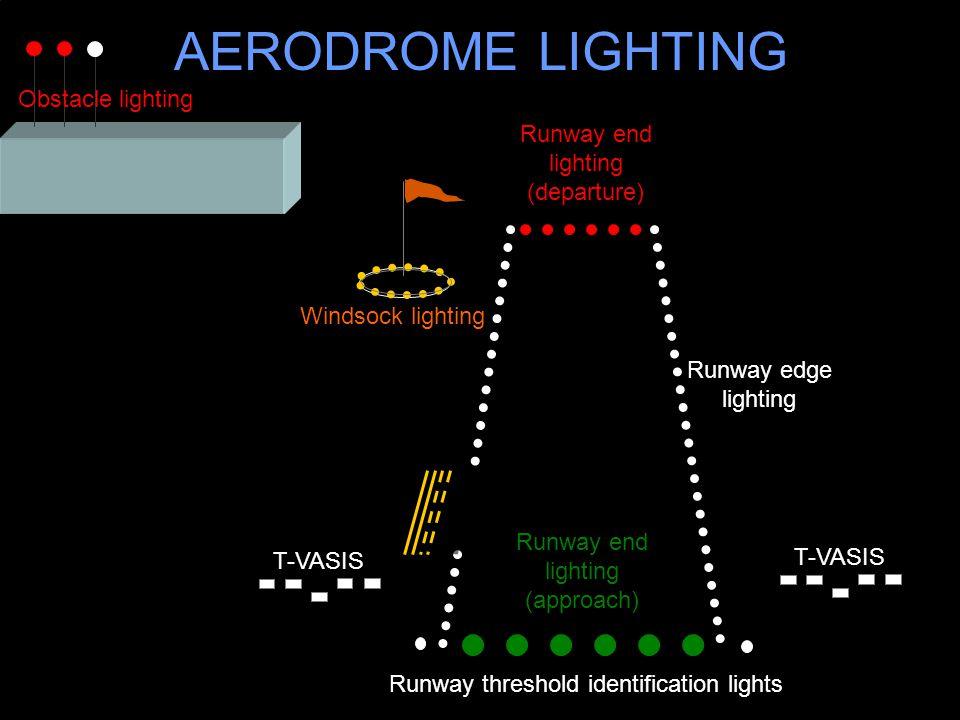 AERODROME LIGHTING Runway end lighting (departure) Runway edge lighting Windsock lighting Runway end lighting (approach) Obstacle lighting Runway thre