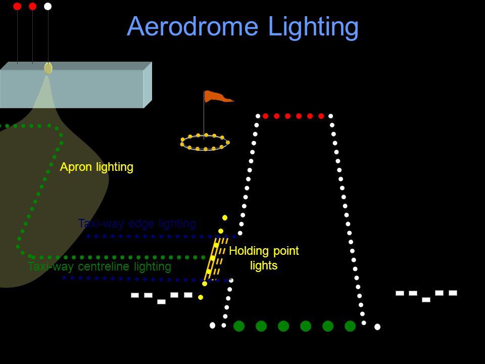 Aerodrome Lighting Holding point lights Taxi-way centreline lighting Taxi-way edge lighting Apron lighting