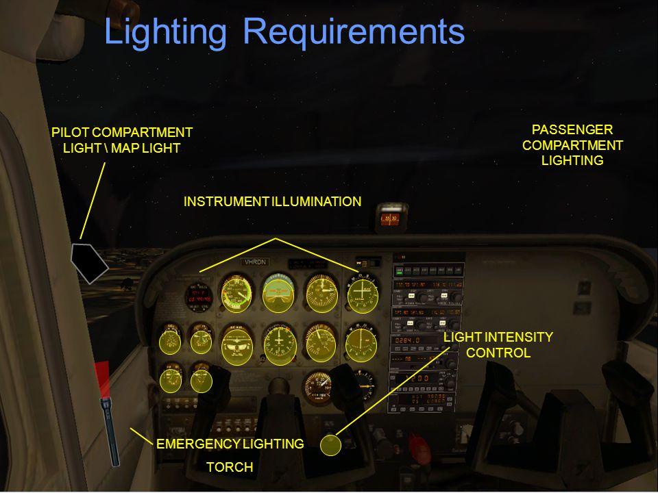 Lighting Requirements LIGHT INTENSITY CONTROL PASSENGER COMPARTMENT LIGHTING PILOT COMPARTMENT LIGHT \ MAP LIGHT INSTRUMENT ILLUMINATION EMERGENCY LIG