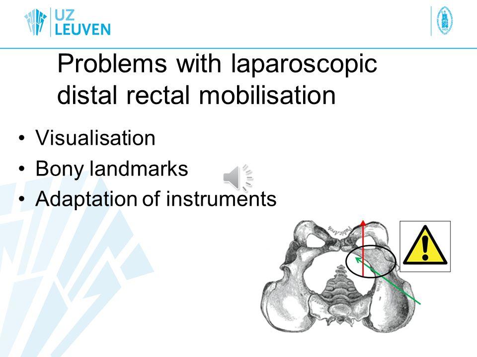 Problems with laparoscopic distal rectal mobilisation Visualisation Bony landmarks Adaptation of instruments