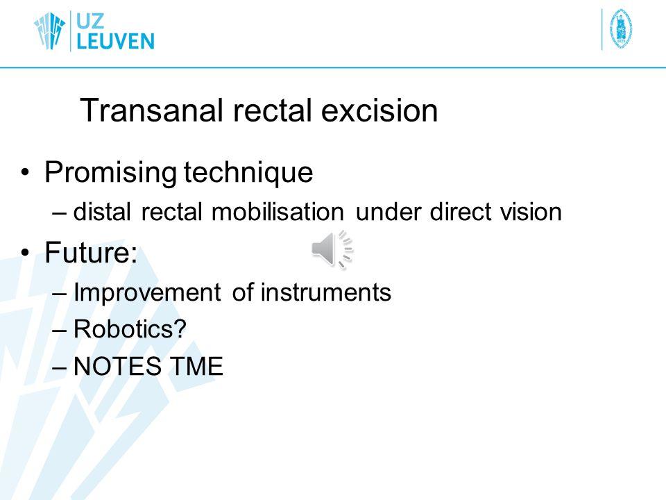 Transanal rectal excision Promising technique –distal rectal mobilisation under direct vision Future: –Improvement of instruments –Robotics.