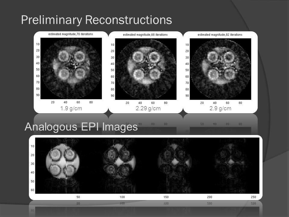 Preliminary Reconstructions 1.9 g/cm 2.29 g/cm 2.9 g/cm Analogous EPI Images