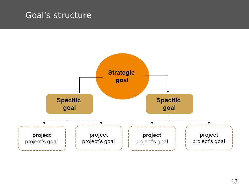 13 Goals structure Strategic goal project projects goal Specific goal Specific goal project projects goal project projects goal project projects goal