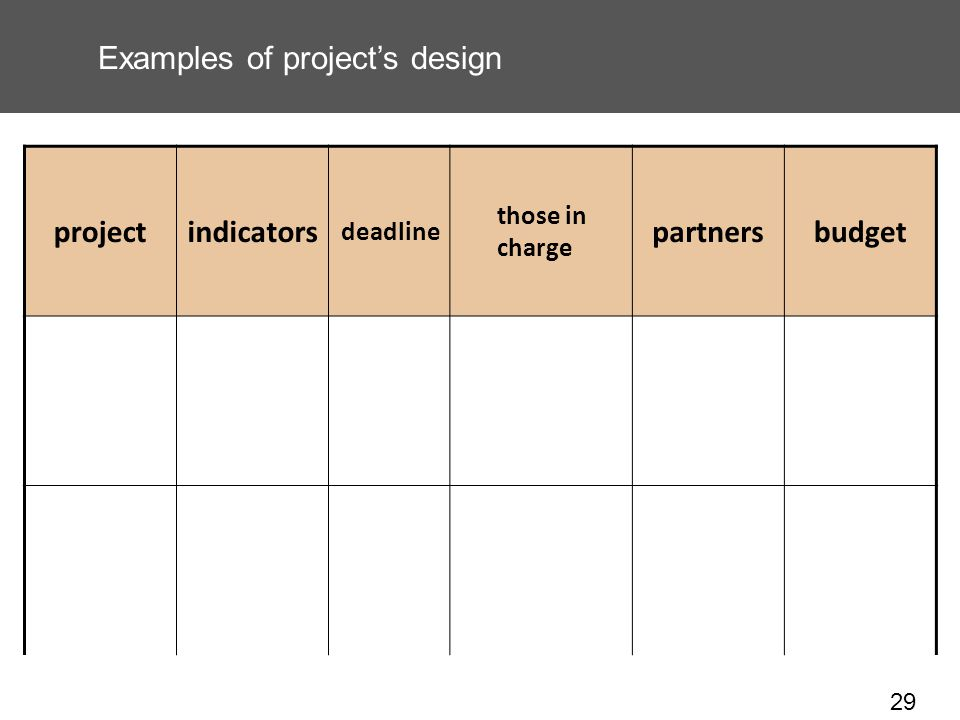 29 Examples of projects design projectindicators deadline those in charge partnersbudget