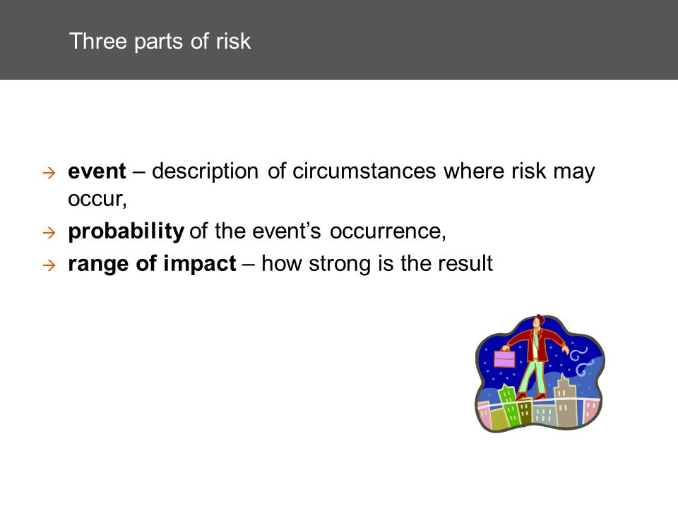 Three parts of risk event – description of circumstances where risk may occur, probability of the events occurrence, range of impact – how strong is t