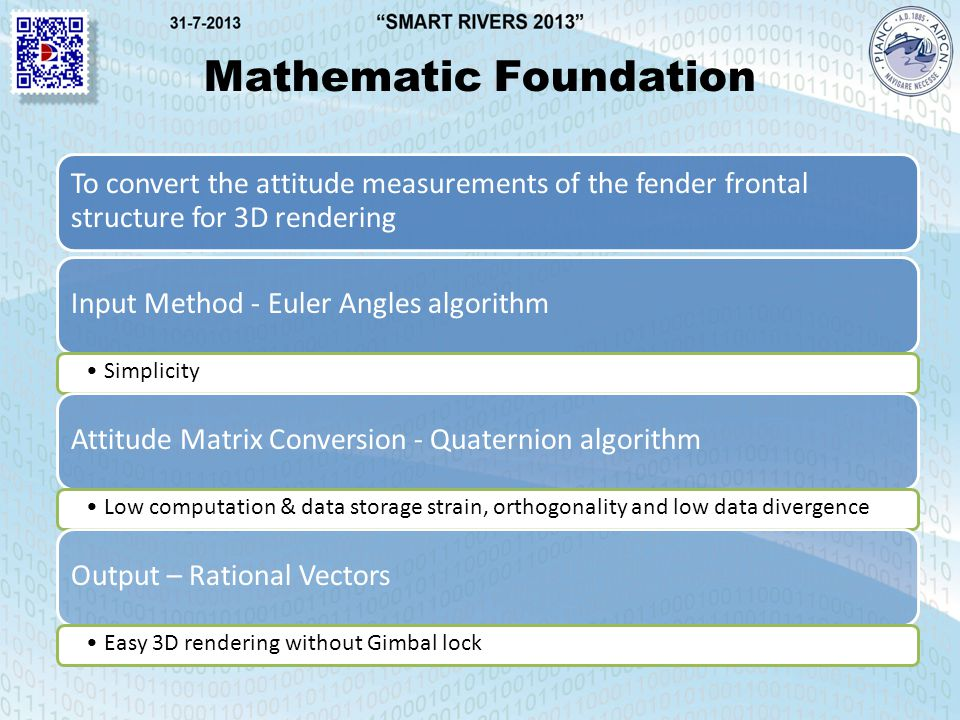 Mathematic Foundation To convert the attitude measurements of the fender frontal structure for 3D rendering Input Method - Euler Angles algorithm Simplicity Attitude Matrix Conversion - Quaternion algorithm Low computation & data storage strain, orthogonality and low data divergence Output – Rational Vectors Easy 3D rendering without Gimbal lock