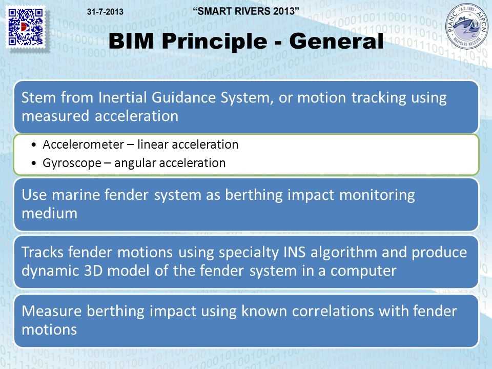 BIM Principle - General Stem from Inertial Guidance System, or motion tracking using measured acceleration Accelerometer – linear acceleration Gyroscope – angular acceleration Use marine fender system as berthing impact monitoring medium Tracks fender motions using specialty INS algorithm and produce dynamic 3D model of the fender system in a computer Measure berthing impact using known correlations with fender motions
