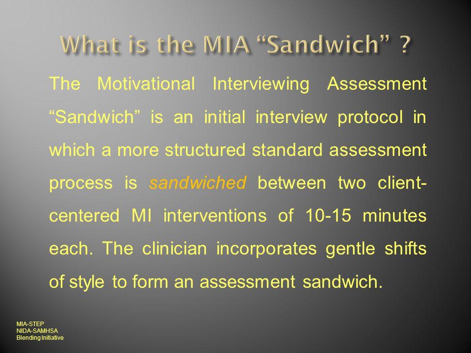 MI strategies during 1 st 10-15 min MI strategies during last 10-15 min MI strategies during last 10-15 min Agencys Standard Intake/Assessment MIA-STEP NIDA-SAMHSA Blending Initiative