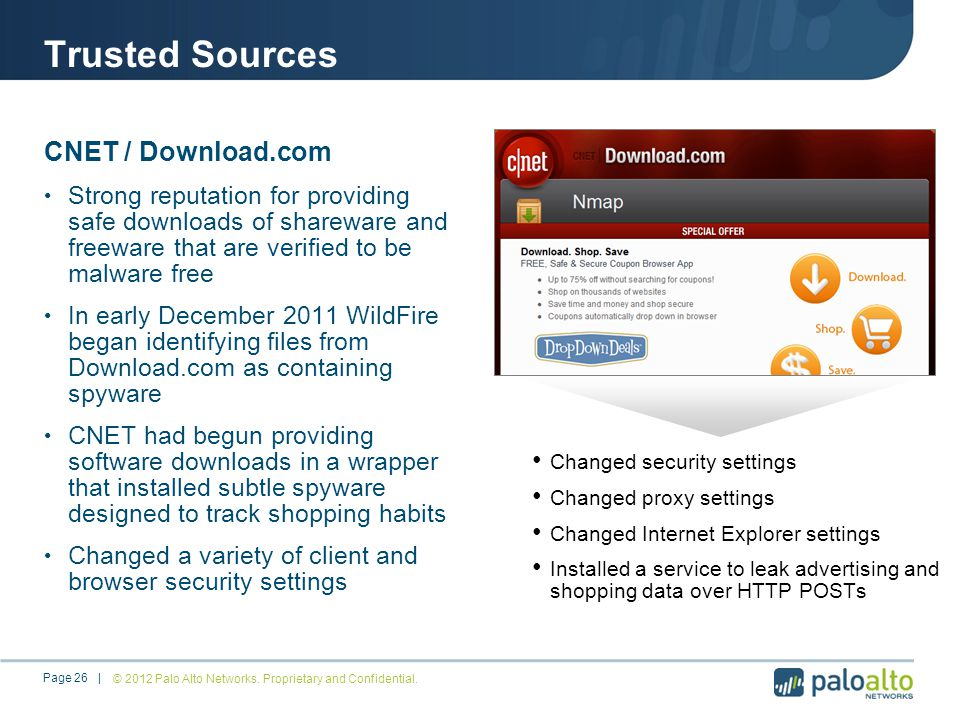Trusted Sources CNET / Download.com Strong reputation for providing safe downloads of shareware and freeware that are verified to be malware free In early December 2011 WildFire began identifying files from Download.com as containing spyware CNET had begun providing software downloads in a wrapper that installed subtle spyware designed to track shopping habits Changed a variety of client and browser security settings Changed security settings Changed proxy settings Changed Internet Explorer settings Installed a service to leak advertising and shopping data over HTTP POSTs © 2012 Palo Alto Networks.
