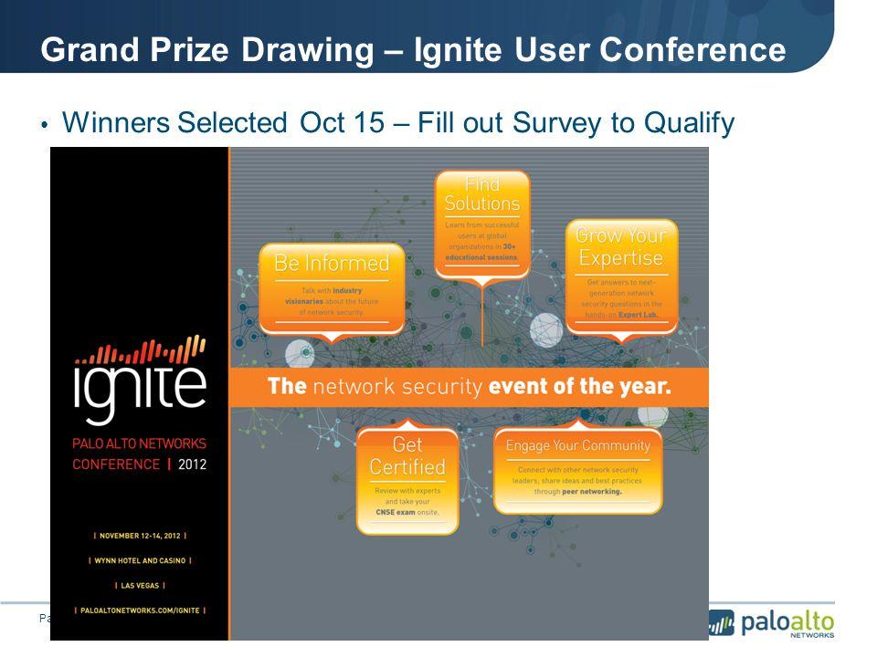 Grand Prize Drawing – Ignite User Conference © 2012 Palo Alto Networks.