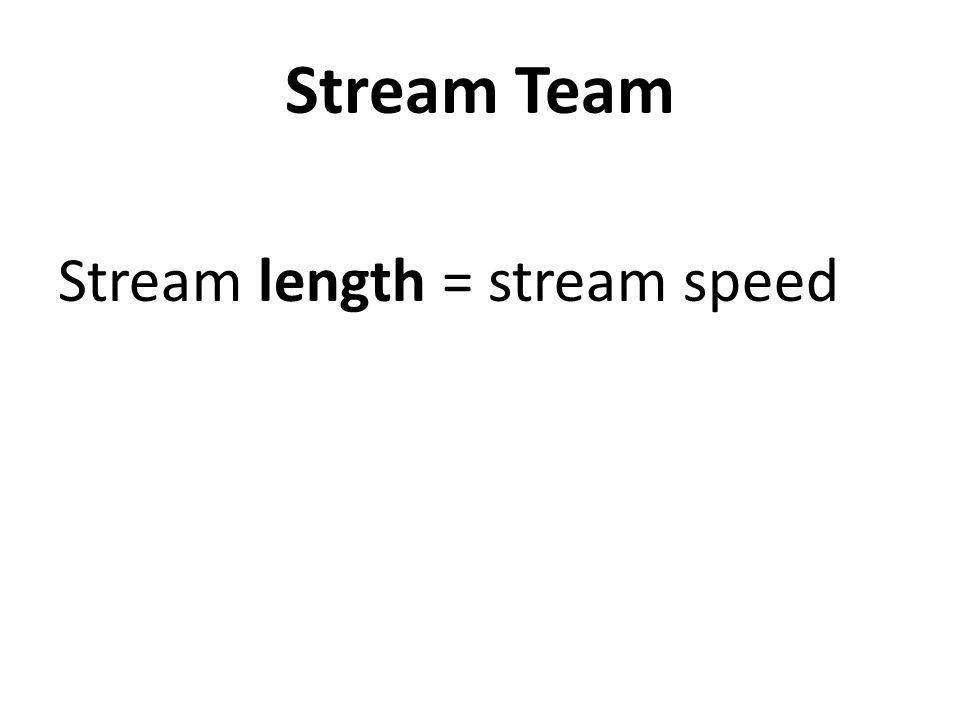 Stream Team Stream length = stream speed