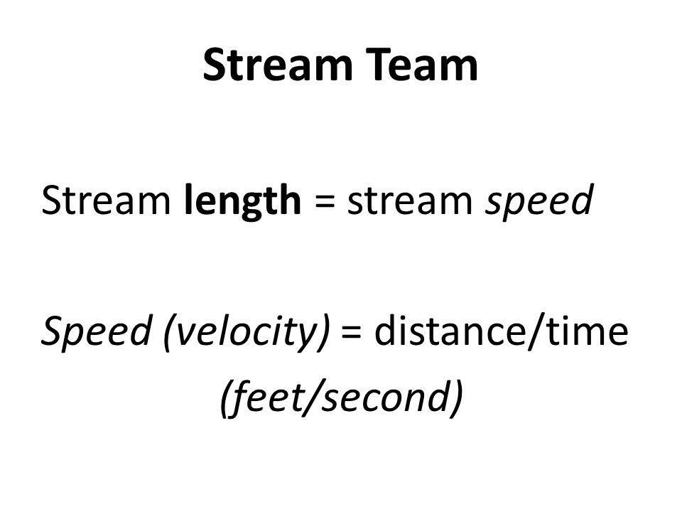 Stream Team Stream length = stream speed Speed (velocity) = distance/time (feet/second)