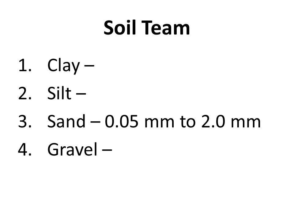 1.Clay – 2.Silt – 3.Sand – 0.05 mm to 2.0 mm 4.Gravel – Soil Team