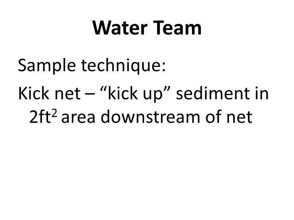 Sample technique: Kick net – kick up sediment in 2ft 2 area downstream of net Water Team