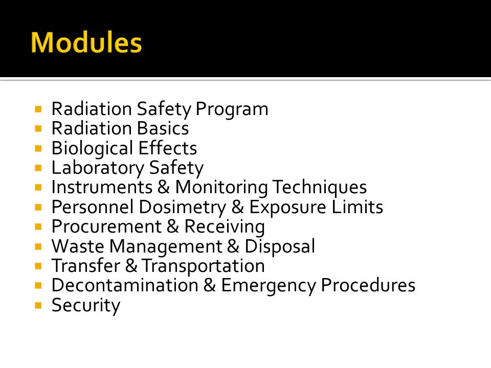 Radiation Safety Program Responsibilities Regulations Authorization (Project) Requirements