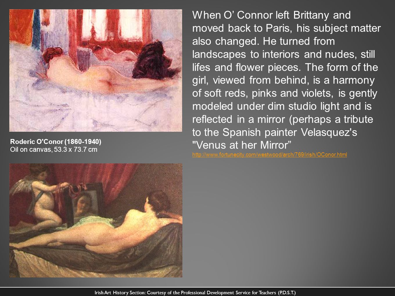 When O Connor left Brittany and moved back to Paris, his subject matter also changed. He turned from landscapes to interiors and nudes, still lifes an