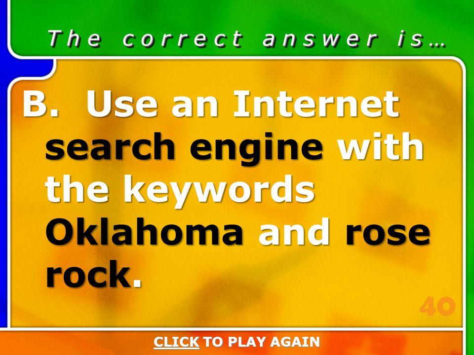1:40 Answer T h e c o r r e c t a n s w e r i s … B.