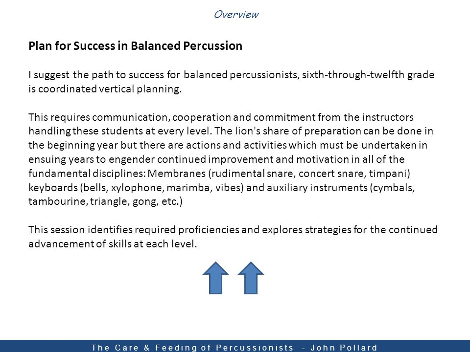 Plan for Success in Balanced Percussion I suggest the path to success for balanced percussionists, sixth-through-twelfth grade is coordinated vertical planning.