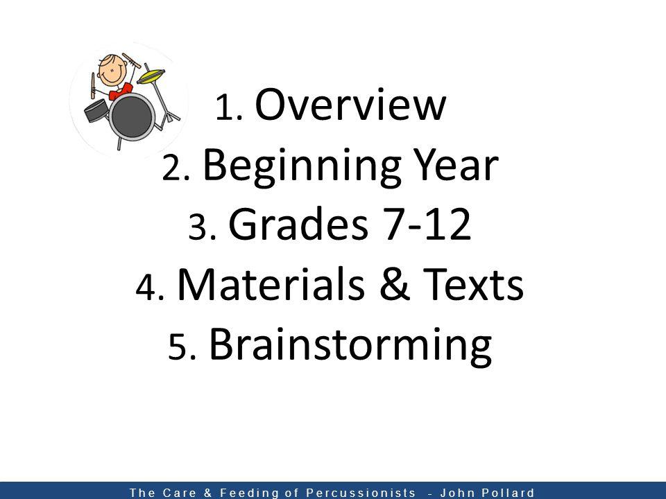 1. Overview 2. Beginning Year 3. Grades 7-12 4.