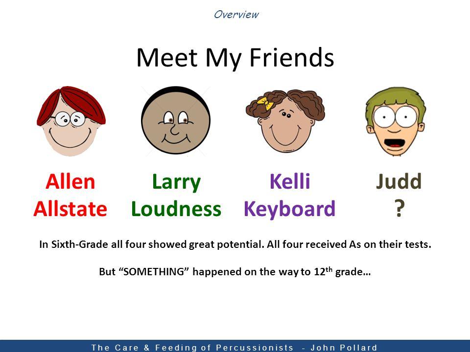 Meet My Friends Overview AllenLarryKelliJudd AllstateLoudnessKeyboard .