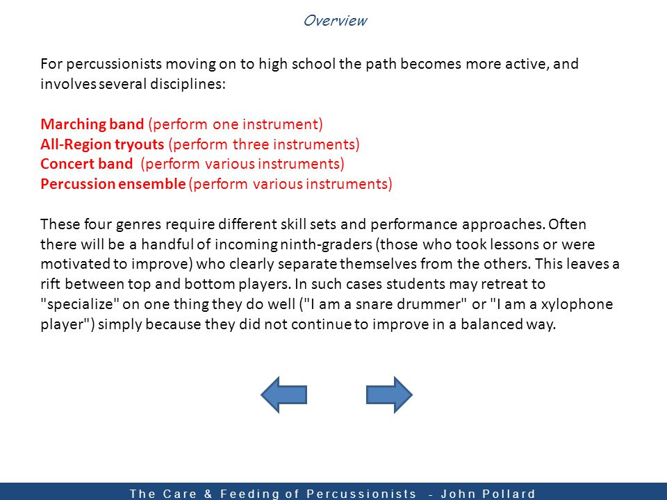 Grades 7-12 The Care & Feeding of Percussionists - John Pollard