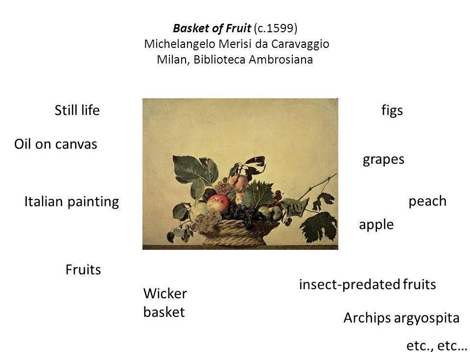 Basket of Fruit (c.1599) Michelangelo Merisi da Caravaggio Milan, Biblioteca Ambrosiana Italian painting Oil on canvas Still life Fruits Wicker basket