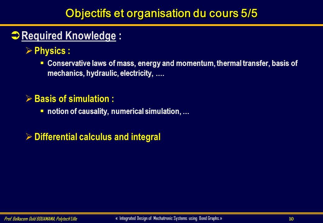10 « Integrated Design of Mechatronic Systems using Bond Graphs.» Prof. Belkacem Ould BOUAMAMA, PolytechLille Objectifs et organisation du cours 5/5 R