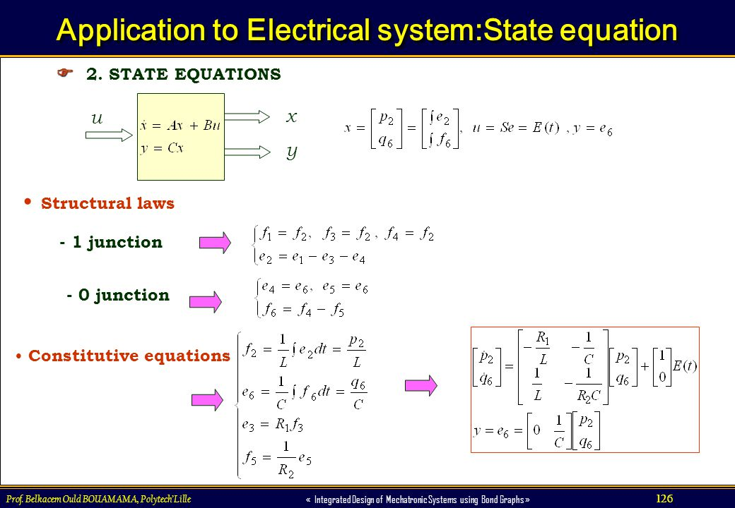 126 « Integrated Design of Mechatronic Systems using Bond Graphs » Prof. Belkacem Ould BOUAMAMA, PolytechLille Application to Electrical system:State
