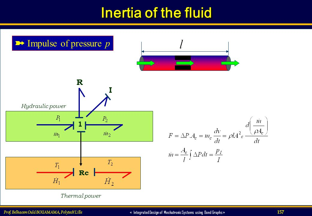 157 « Integrated Design of Mechatronic Systems using Bond Graphs » Prof. Belkacem Ould BOUAMAMA, PolytechLille Inertia of the fluid Rc Thermal power H