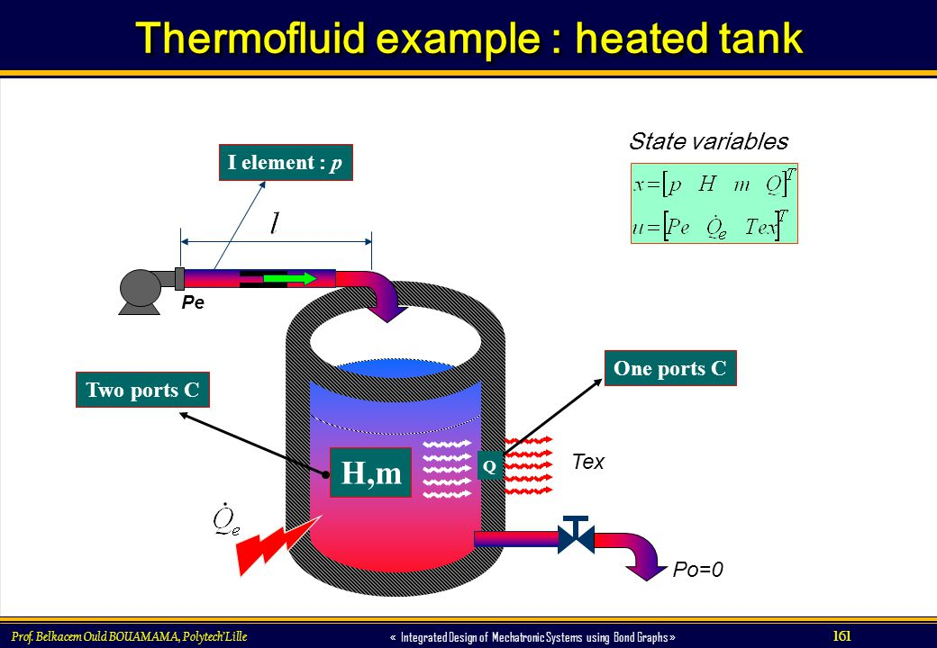161 « Integrated Design of Mechatronic Systems using Bond Graphs » Prof. Belkacem Ould BOUAMAMA, PolytechLille Thermofluid example : heated tank Pe Po